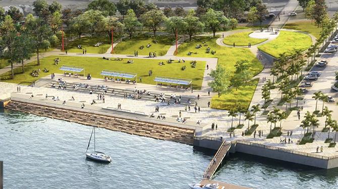 Rendering of future Wilmington Waterfront Promenade